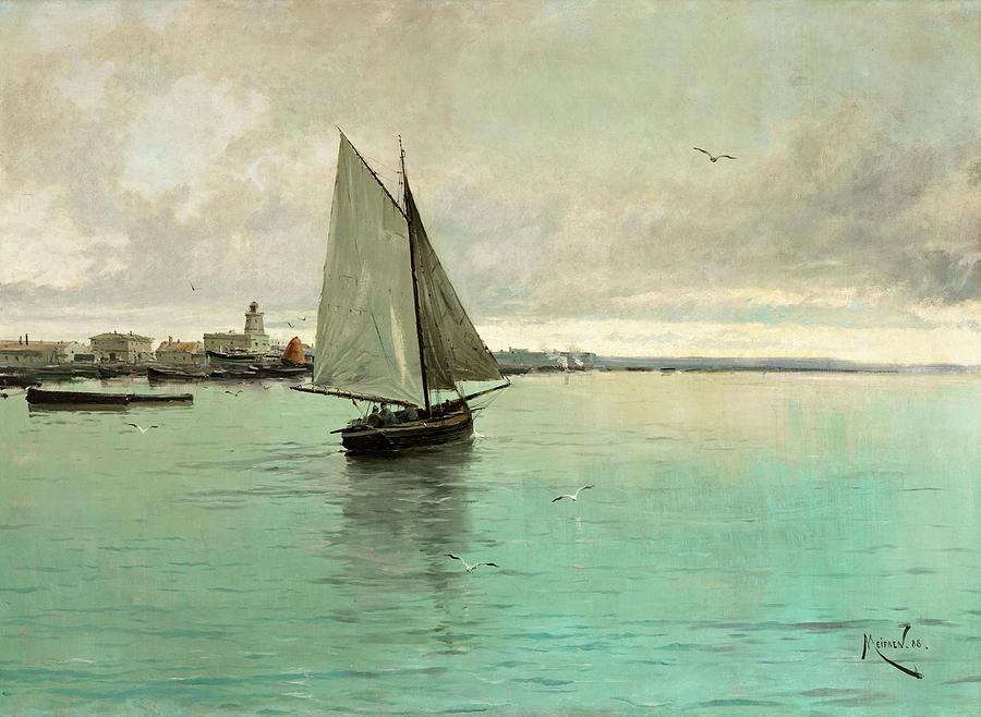 Boat Painting - Marina  by Artistic Panda
