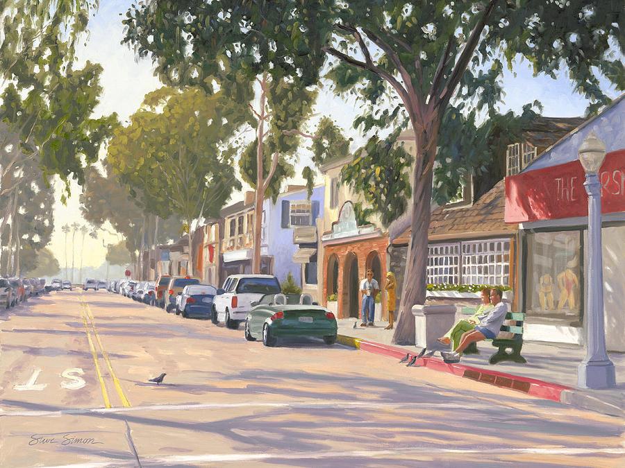 Balboa Island Painting - Marine Avenue Balboa Island by Steve Simon