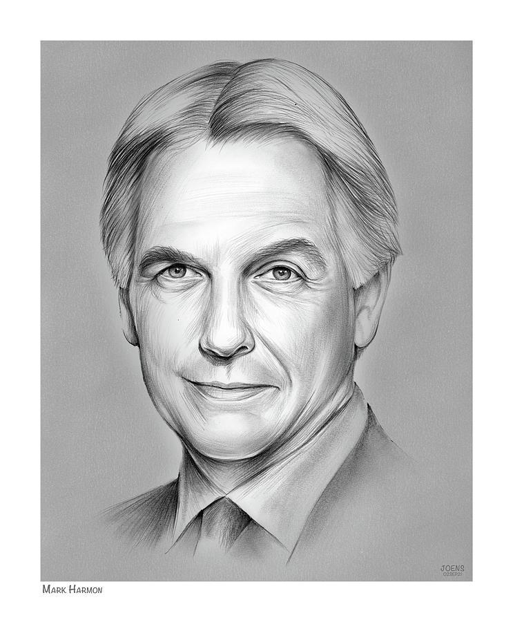 Mark Harmon Drawing - Mark Harmon - pencil by Greg Joens