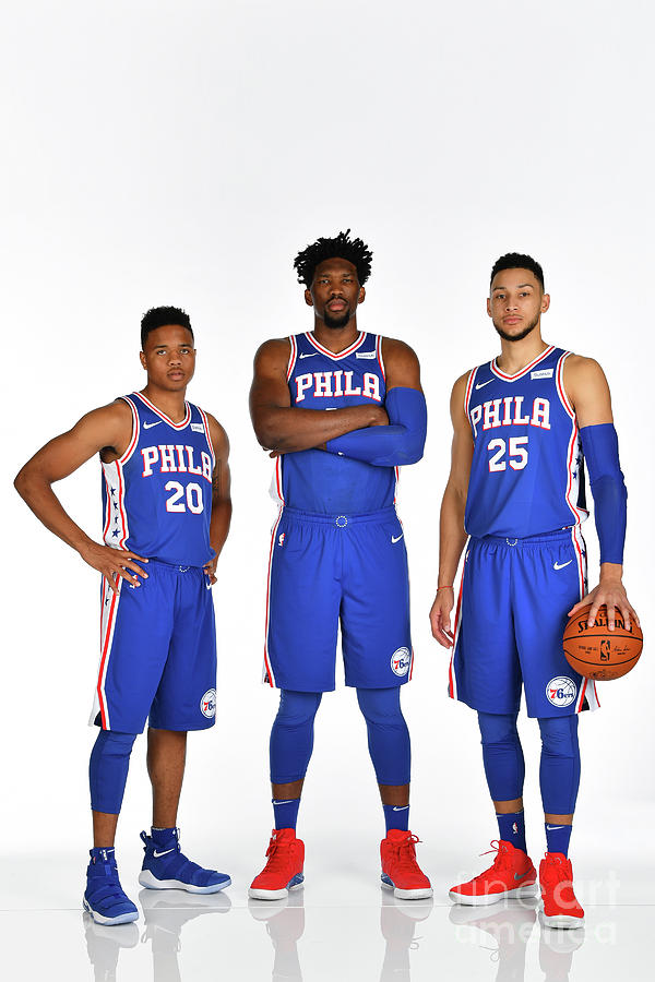 Markelle Fultz, Ben Simmons, and Joel Embiid Photograph by Jesse D. Garrabrant