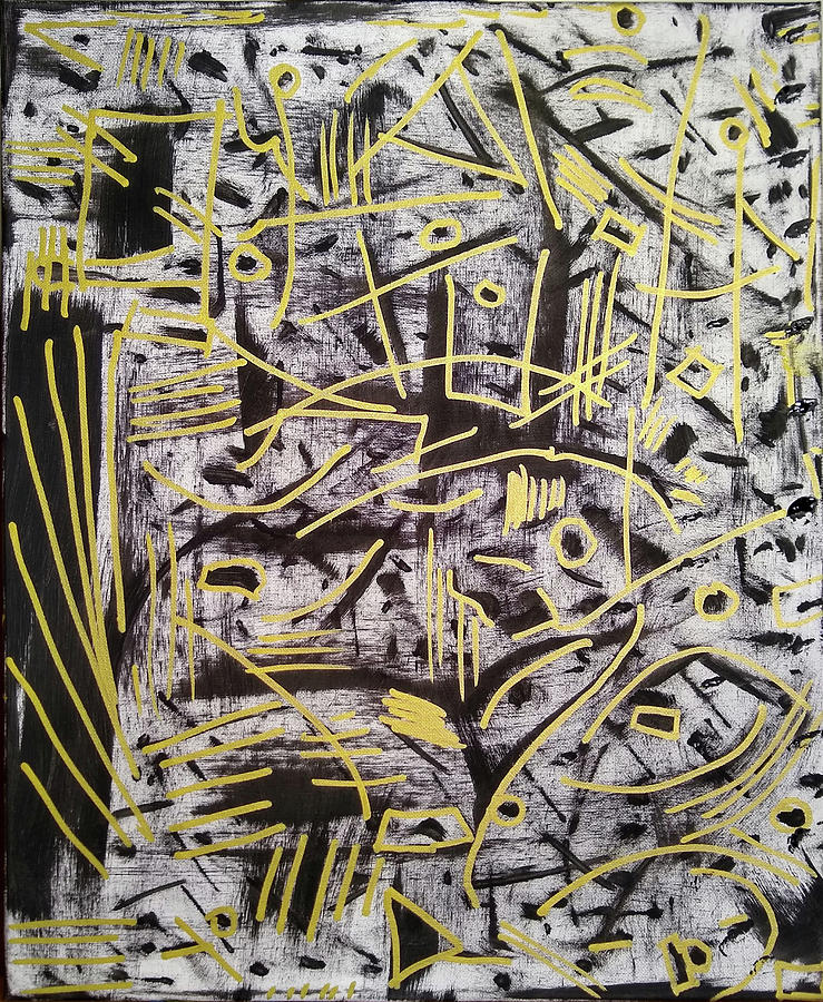 Abstract Painting - Gold Markings  by Pam Roth OMara