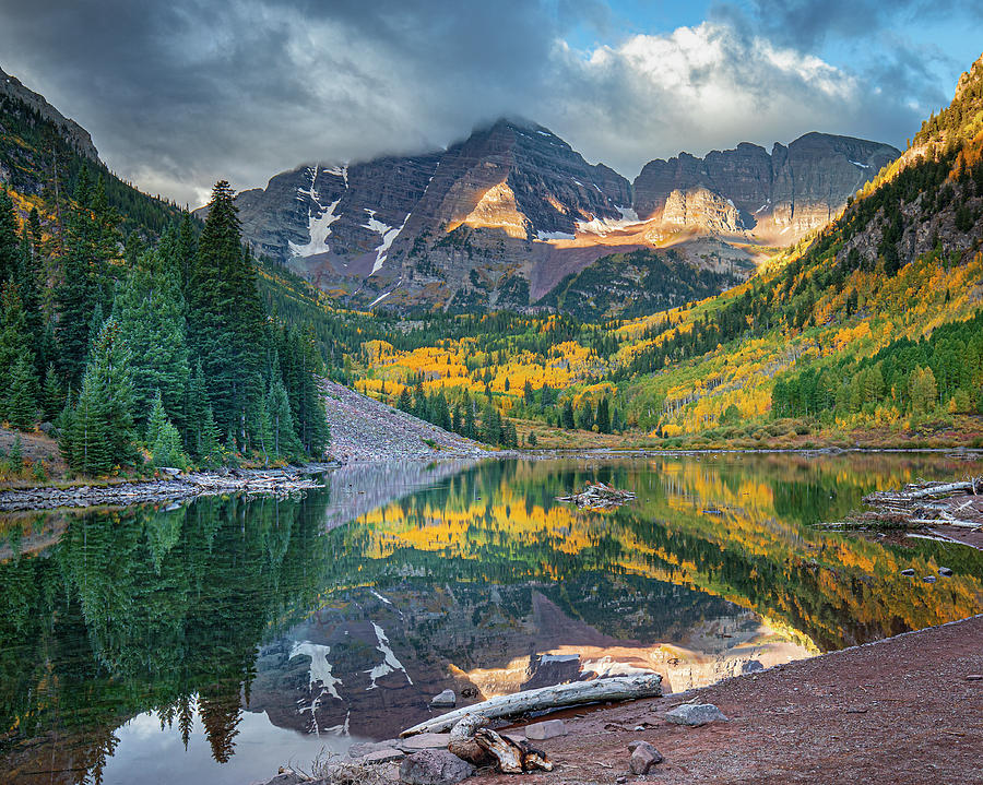 Colorado Maroon Bells Reflections  by Harriet Feagin