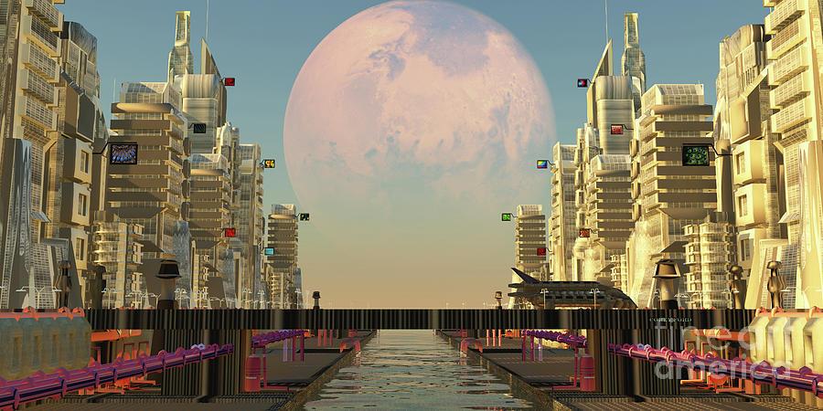 Mars Moon City Digital Art