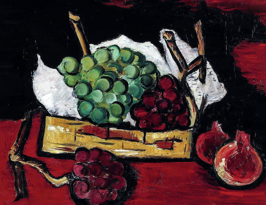 Marsden Hartley 1878 1943 Green And Purple Grapes In Basket Painting