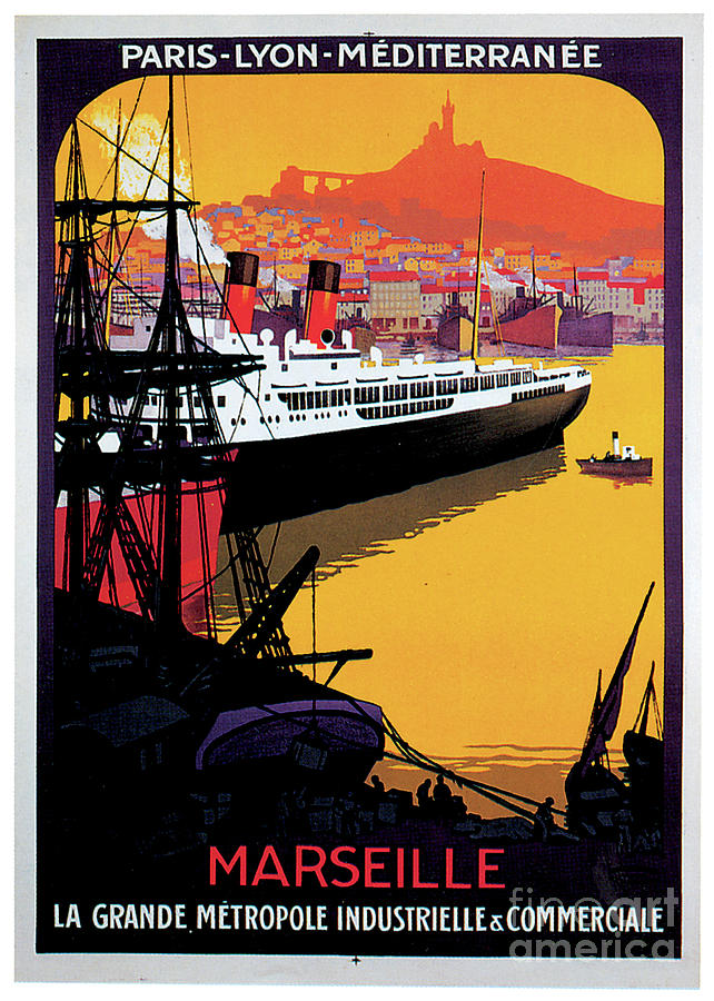 Marseille Cruise Ship Travel Poster Painting