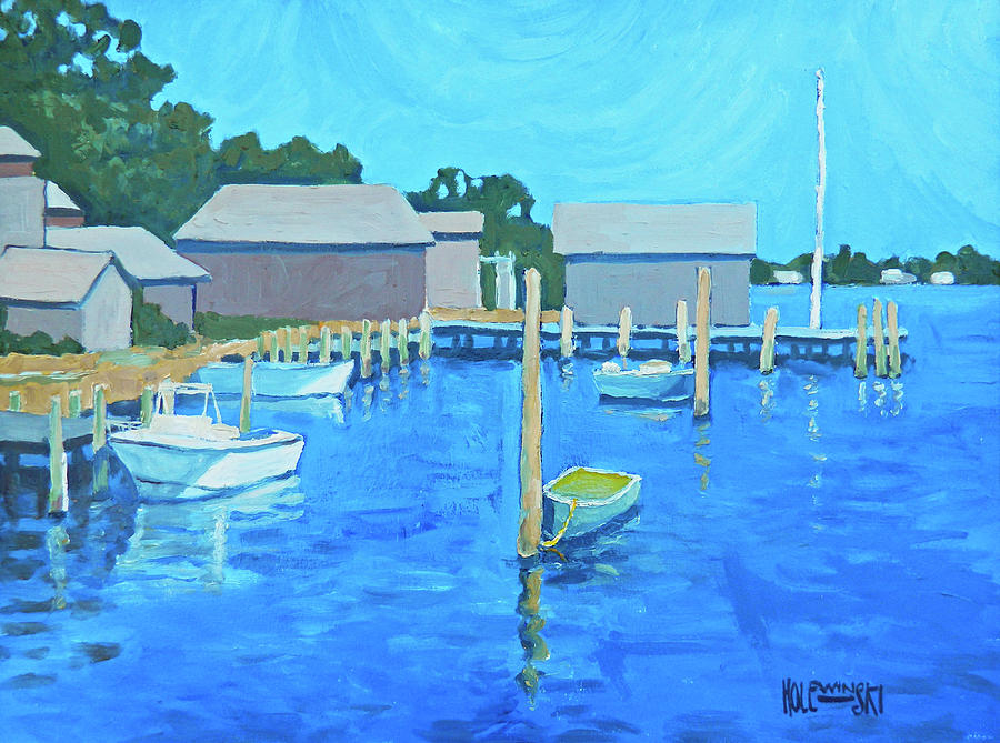 Martha's Vineyard Painting - Marthas Vineyard Harbor by Robert Holewinski