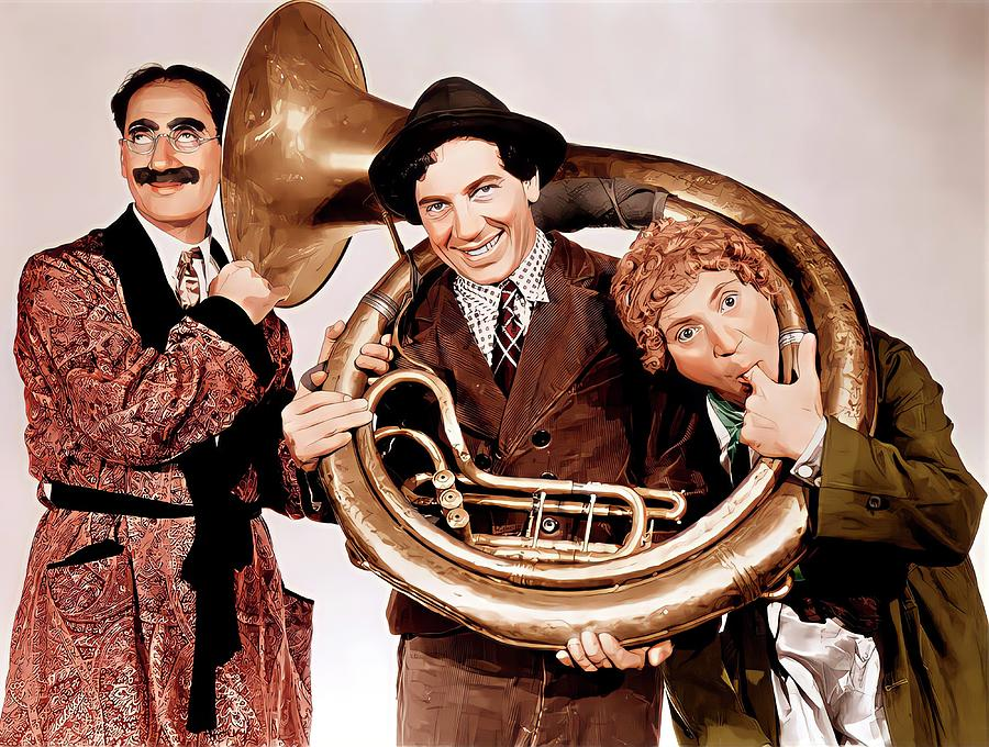 The Marx Brothers Painting - Marx Brothers Colour Painting by Vincent