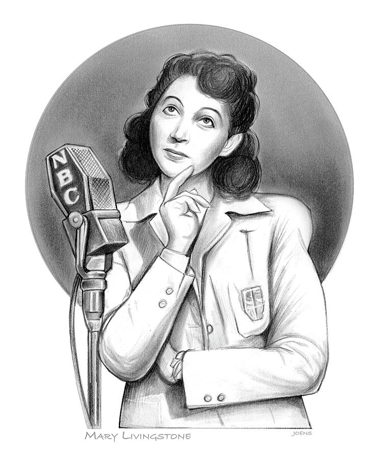 Jack Benny Drawing - Mary Livingstone - pencil by Greg Joens