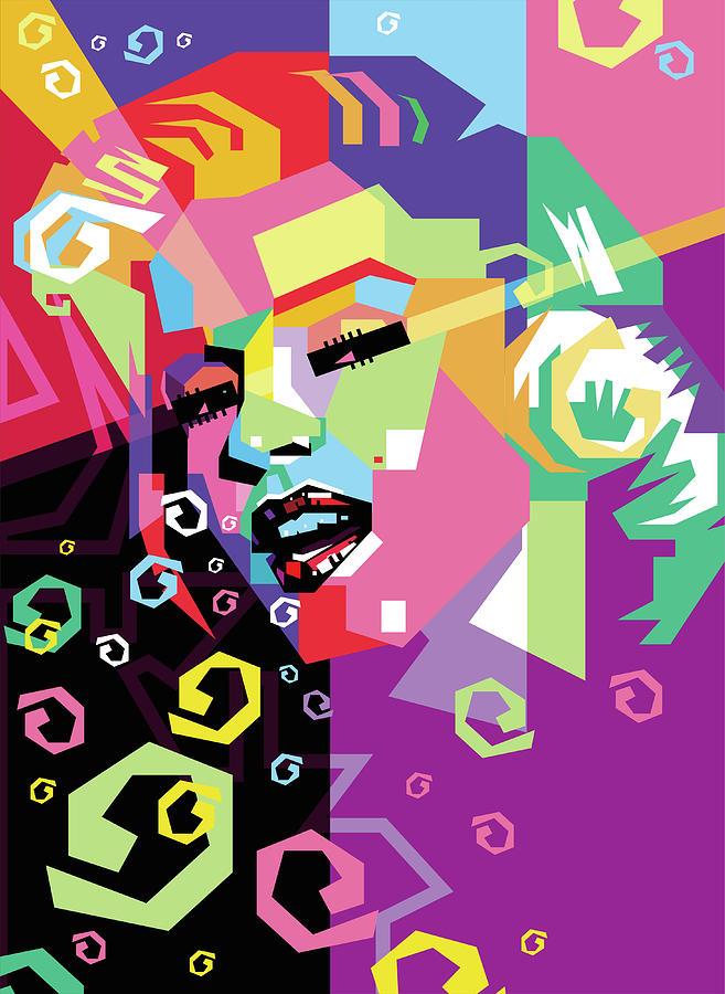 Marylin Monroe 6 Wpap Pop Art Digital Art