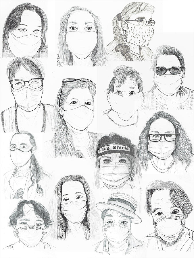 Mask Collage Drawing by Bonnie McKeegan