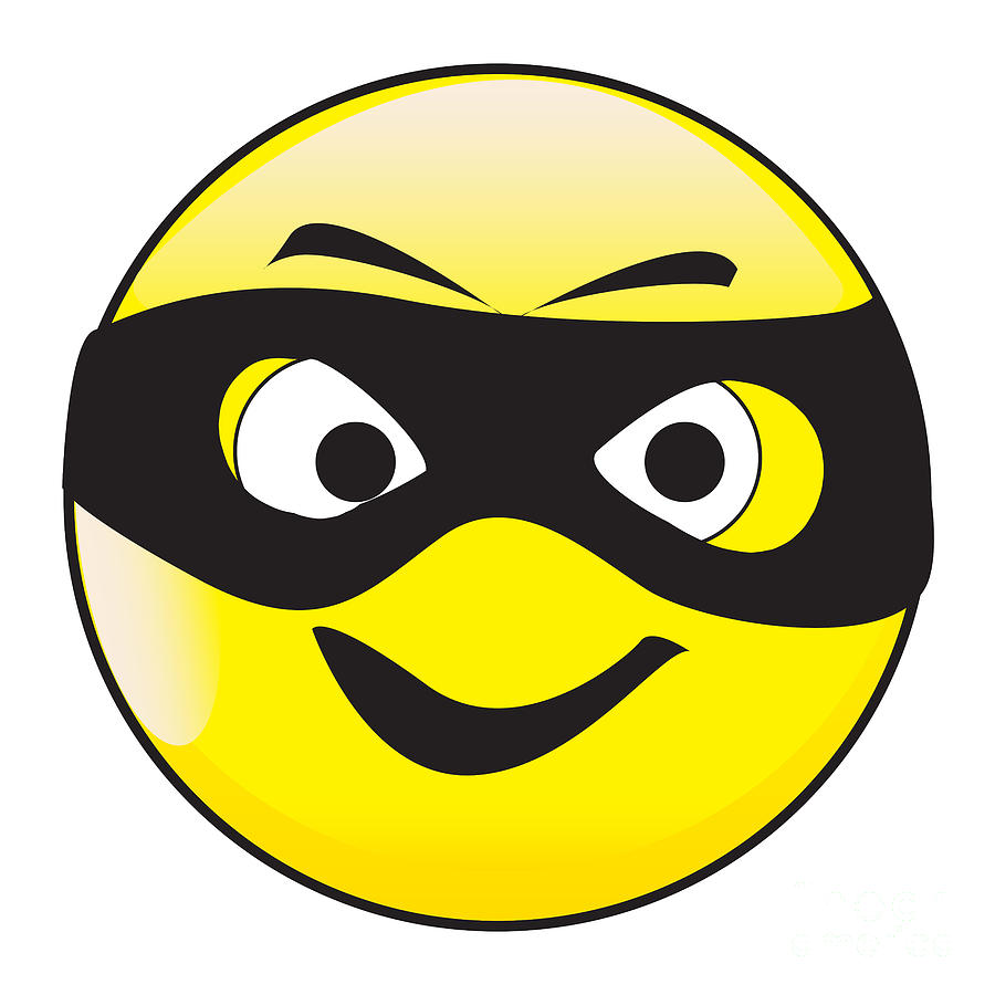 Masked Smile Face Button Emoticon by Bigalbaloo Stock