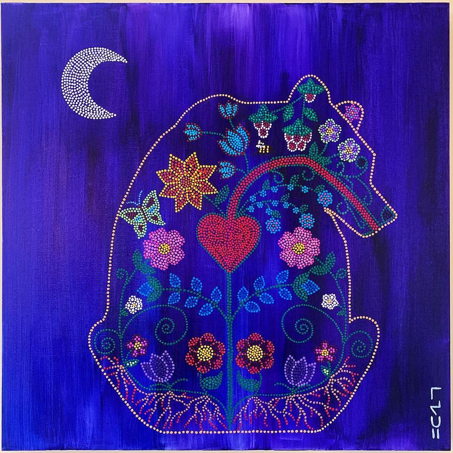 Indigenous Painting - Maskihkiy Maskwa  Medicine Bear by Karlee Fellner