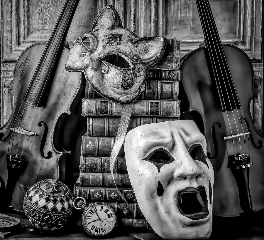Masks And Violins In Black And White by Garry Gay