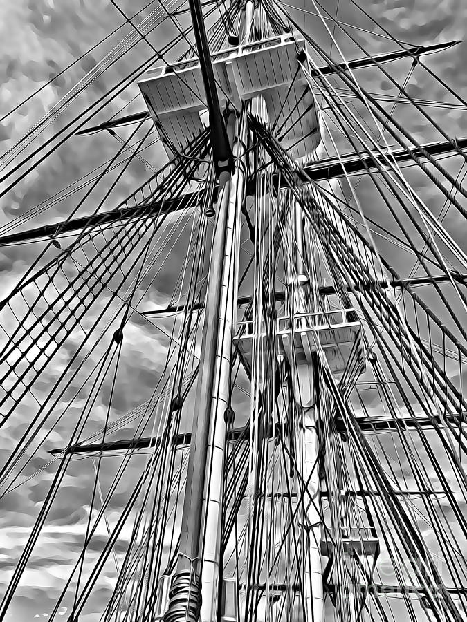 Uss Constitution Mixed Media - Massive Masts of the USS Constitution by Tracy Ruckman