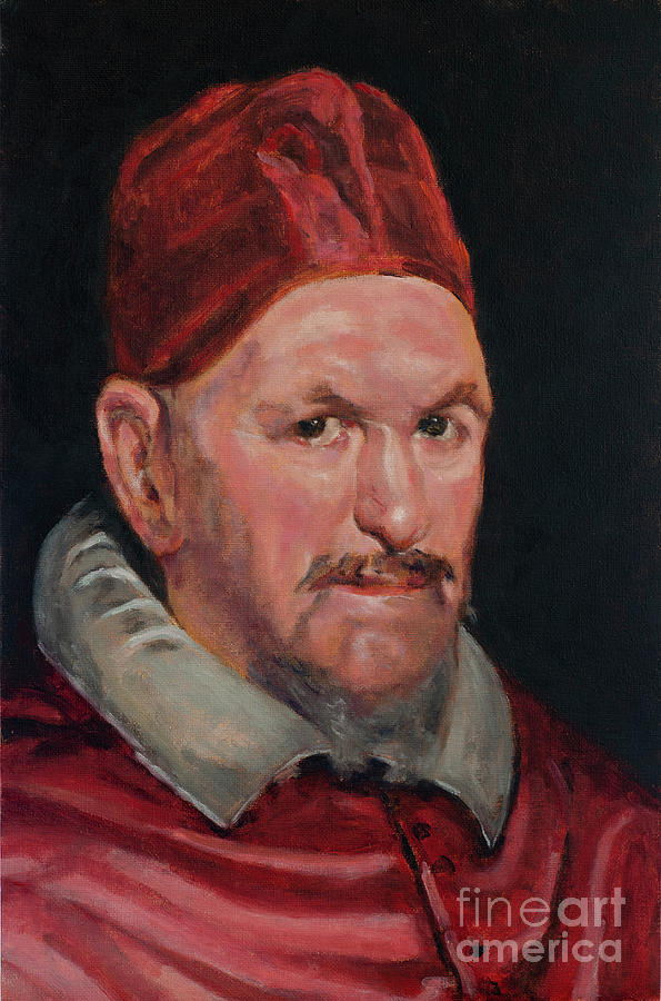 Master Copy of Detail of Portrait of Pope Innocent X by Diego Velazquez Painting by Pablo Avanzini
