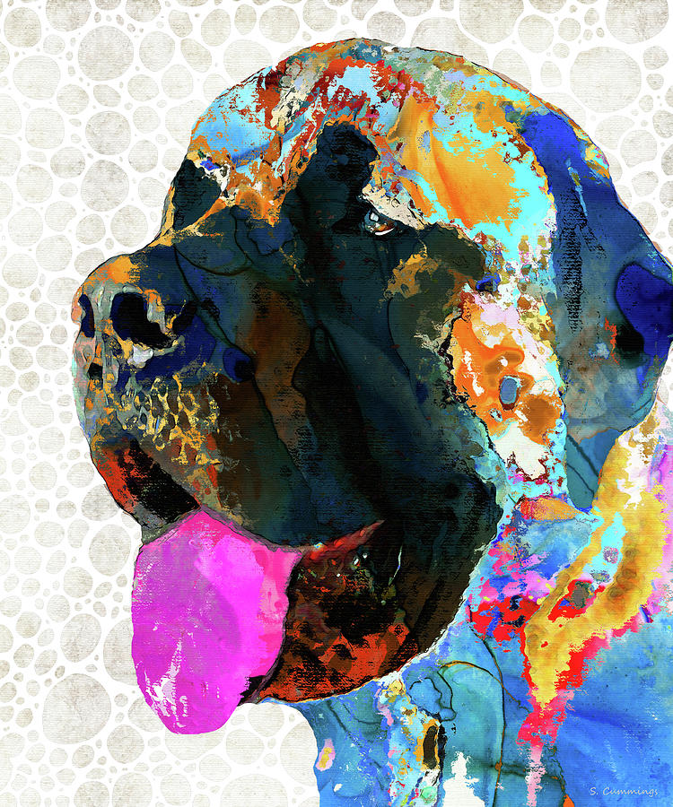 Mastiff Painting - Mastiff Dog Pop Art - Tongue And Cheeks - Sharon Cummings by Sharon Cummings