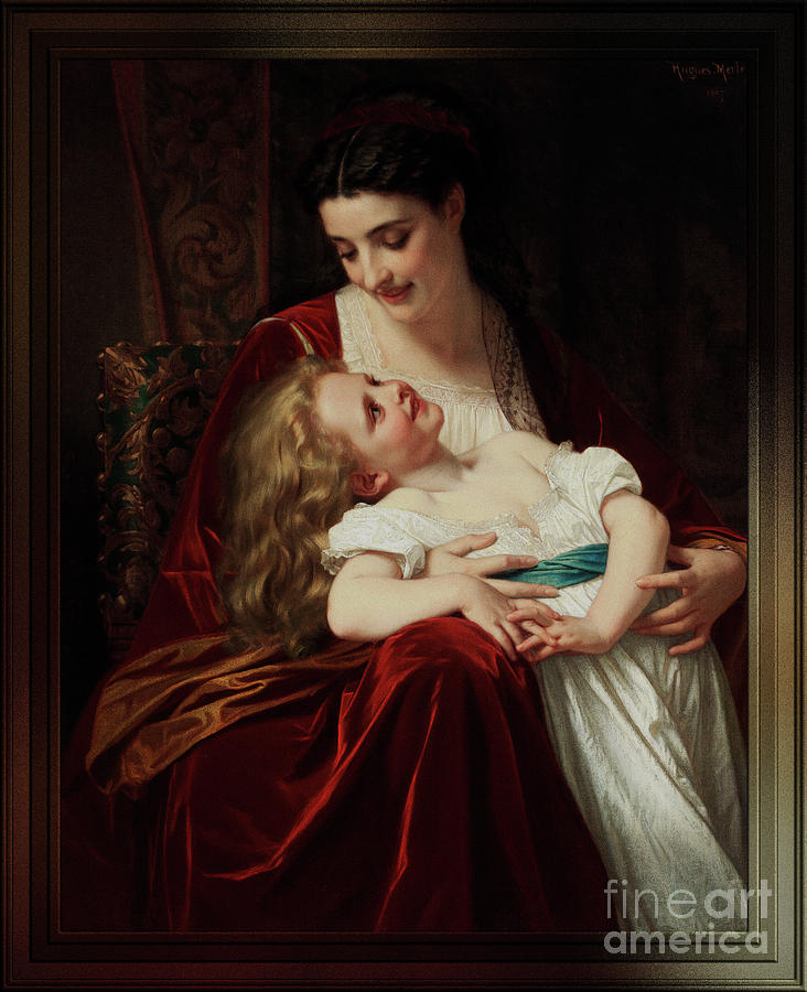 Maternal Affection by Hugues Merle Fine Art Old Masters Reproduction by Xzendor7