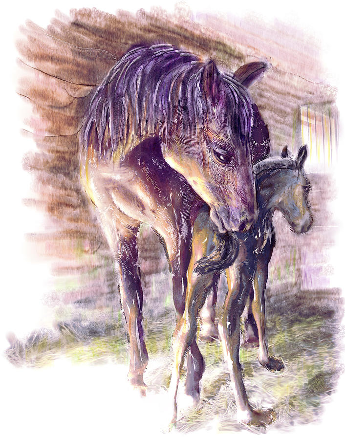 Horse Painting - Maternal Bond Five Hours Old Arabian Mare With Newborn Foal by Connie Moses