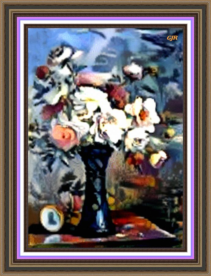 Matissecalia - Still Life With Flower Bouquet In A Blue Vase L A S With Printed Frame. Digital Art