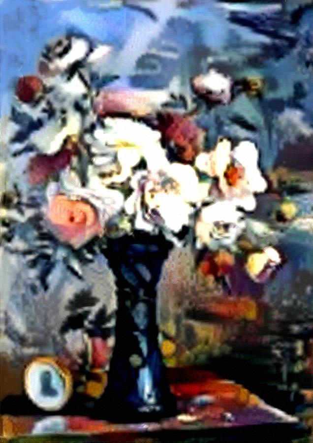 Matissecalia - Still Life With Flower Bouquet In A Blue Vase L B Digital Art