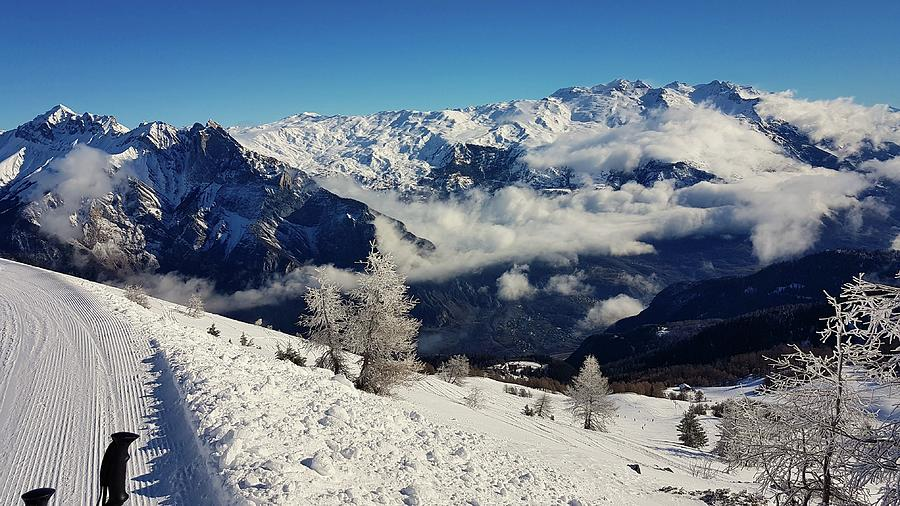 Snow Photograph - Maurienne mountain range after a snowfall by Michael Briley