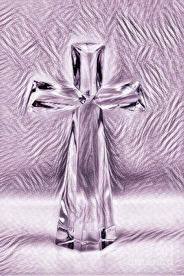 Mauve Glass Cross by Karen Silvestri