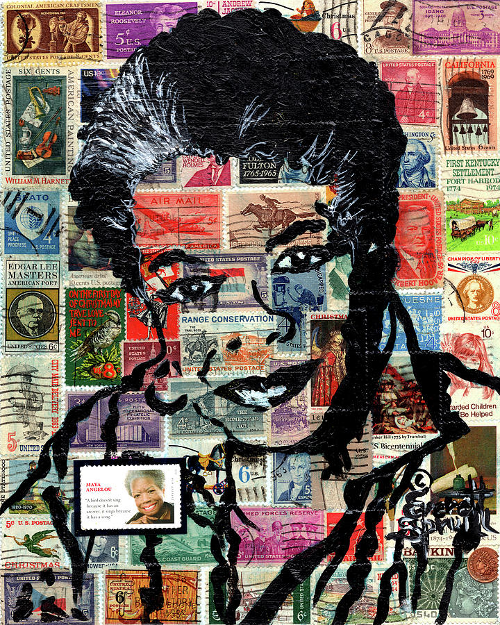 African Mask Mixed Media - Maya Angelou by Everett Spruill