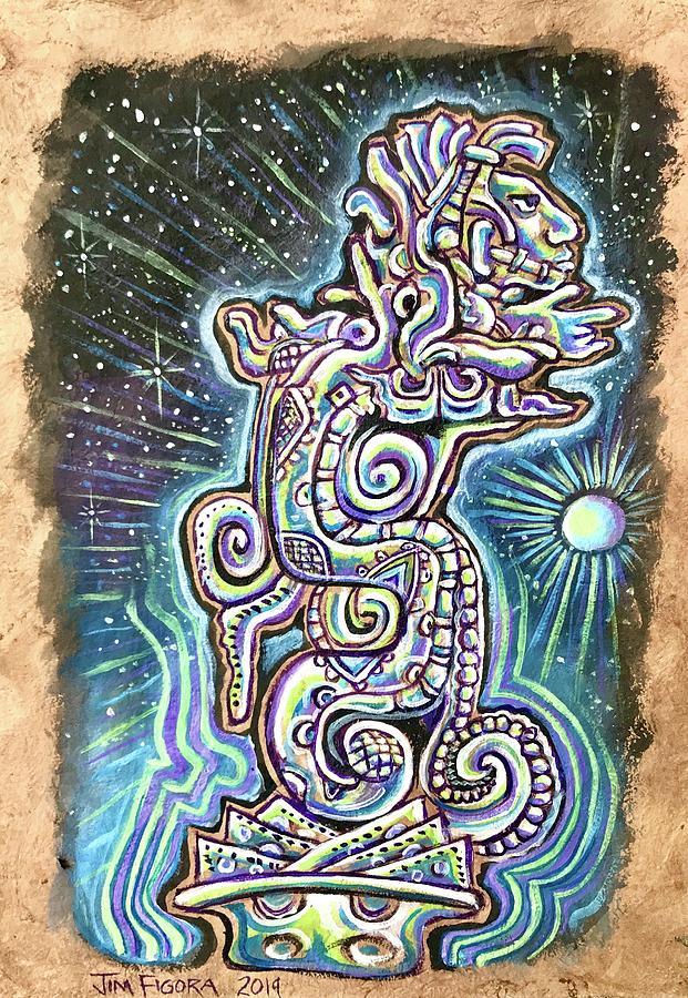 Mayan Painting - Mayan Vision Serpent by Jim Figora