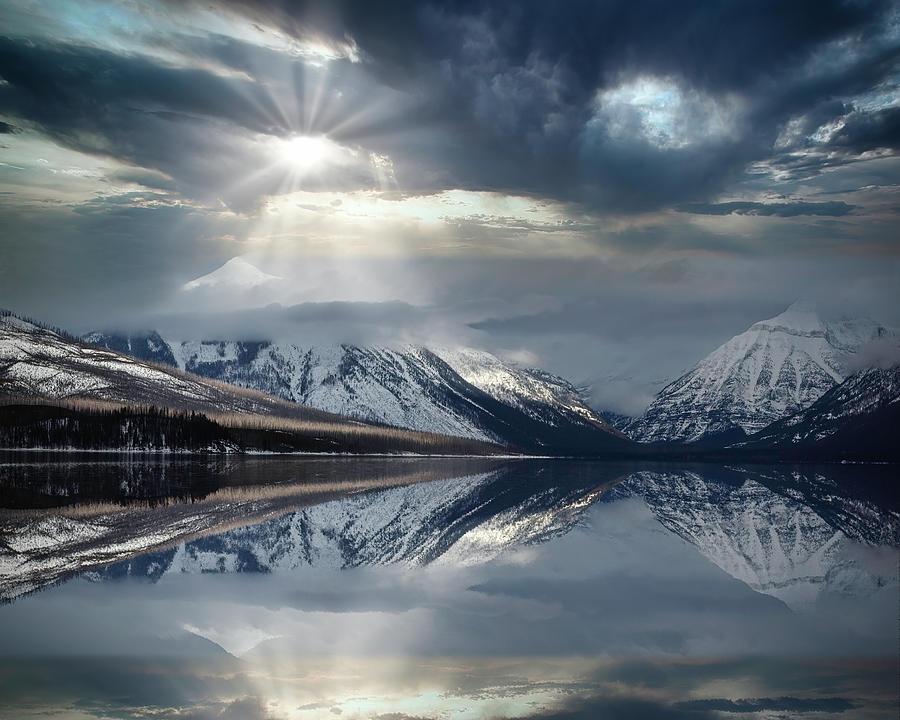 Glacier National Park Photograph - McDonald Lake Sunbreak by Wes and Dotty Weber