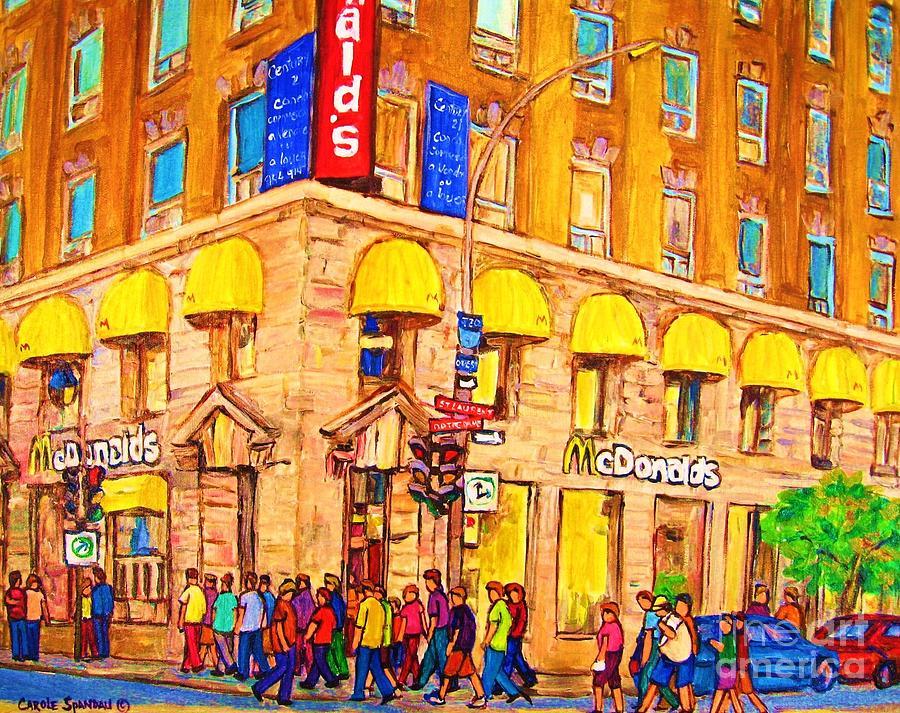 Montreal Painting - Mcdonalds Restaurant  Montreal by Carole Spandau