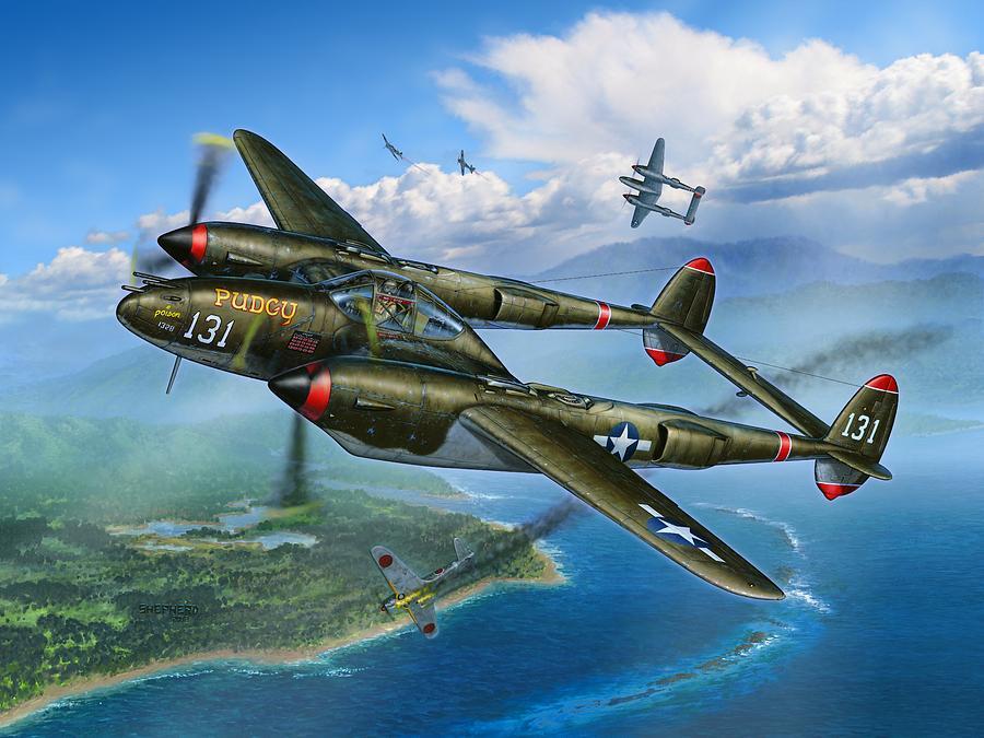 P-38 Painting - McGuires Pudgy by Stu Shepherd