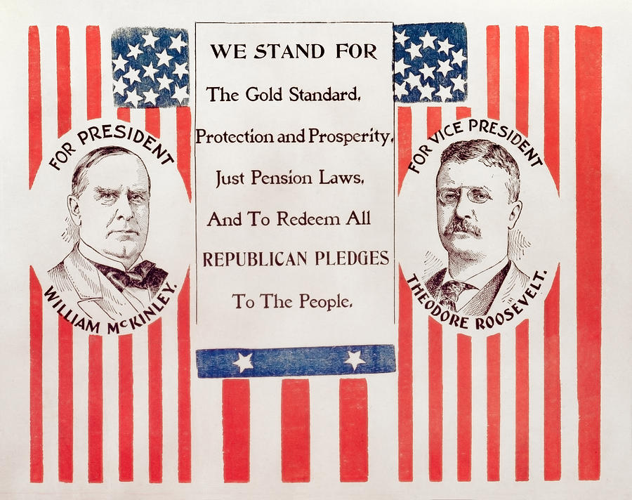 Mckinley And Roosevelt Election Poster - 1900 Painting