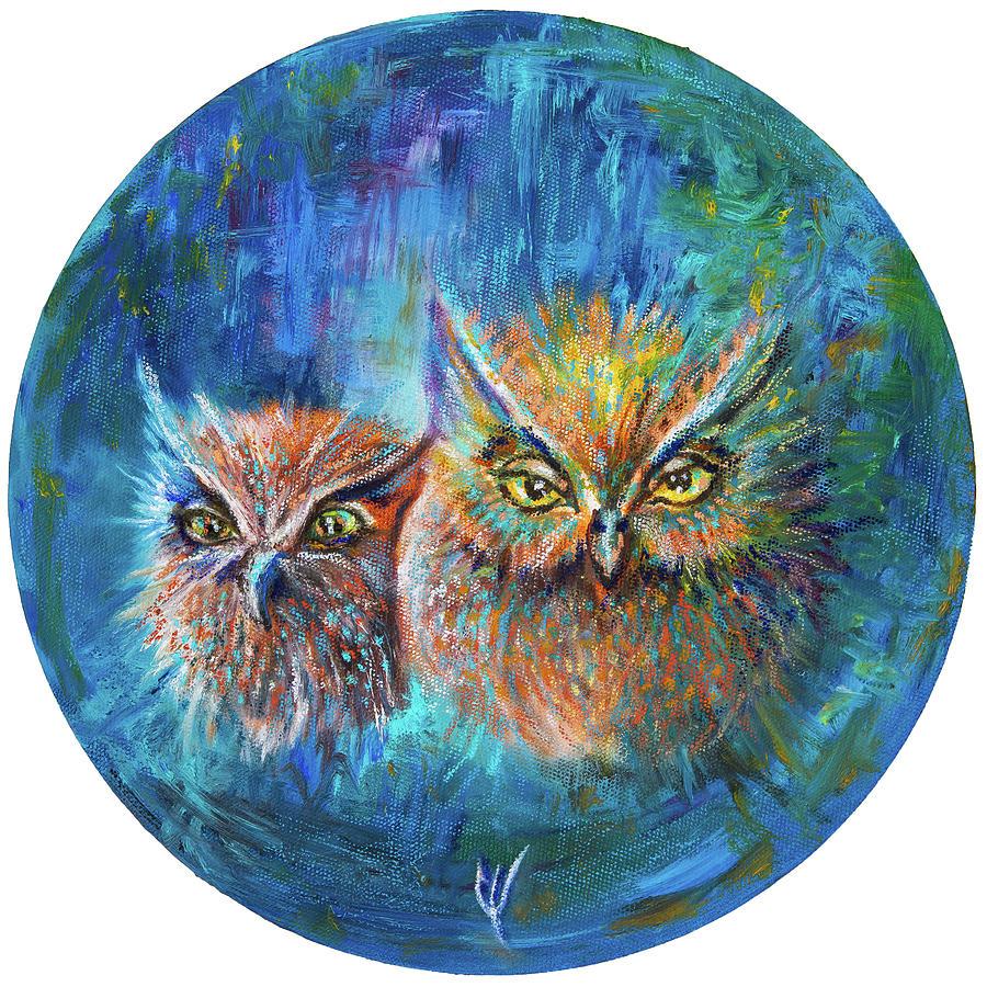 Owl Painting - Me and My Best Friend Owl by Varvara Medvedeva