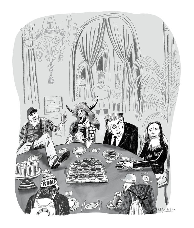 Meanwhile At Mar-a-Lago Drawing by Mark Ulriksen