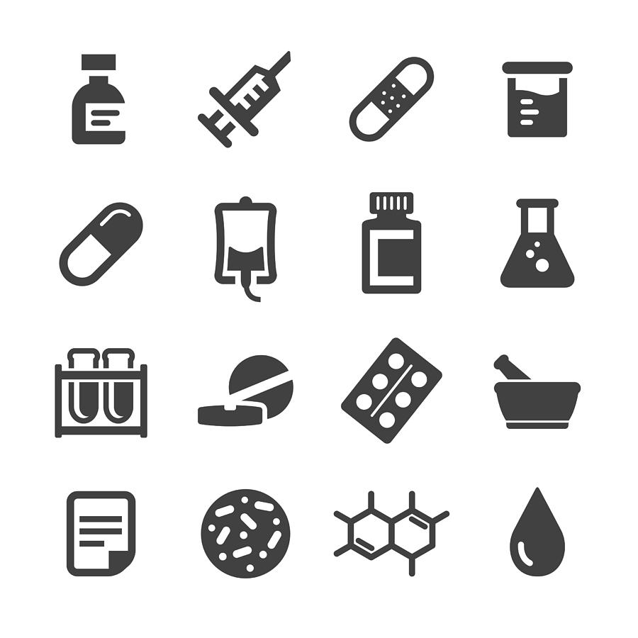 Medicine Icons Set - Acme Series Drawing by -victor-