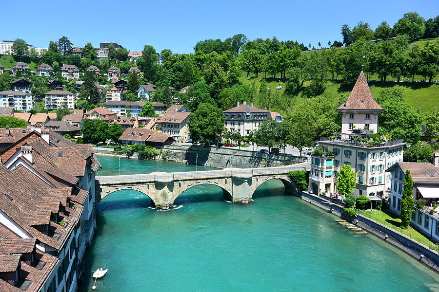 Bern Photograph - Aare River, Old Town Bern, Switzerland by Two Small Potatoes