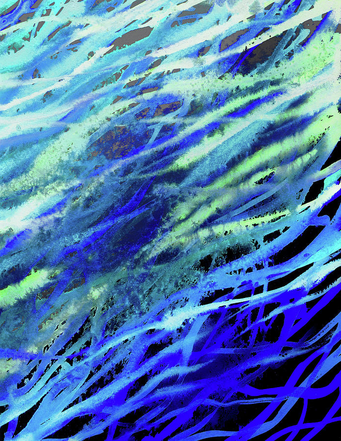 Meditative Flow Of The River Abstract Lines I Painting