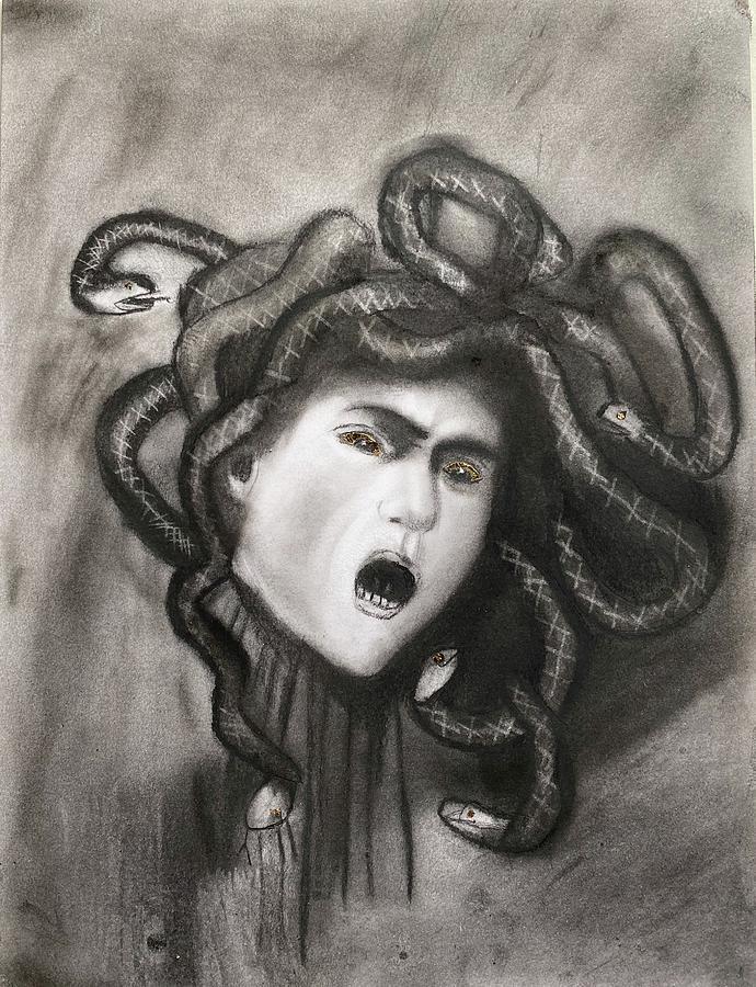 Medusa Drawing - Medusa by Caravaggio by Nadija Armusik