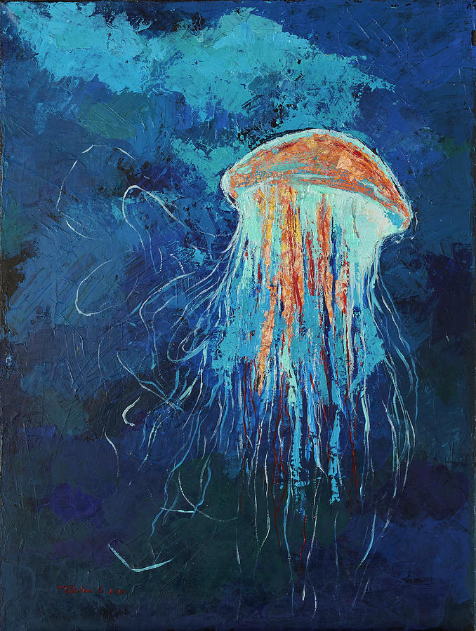 Jelly Fish Painting - Meduza by Camelia Tutulan