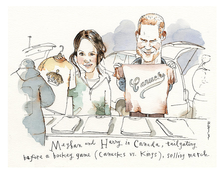 Meghan and Harry Tailgating Painting by Barry Blitt