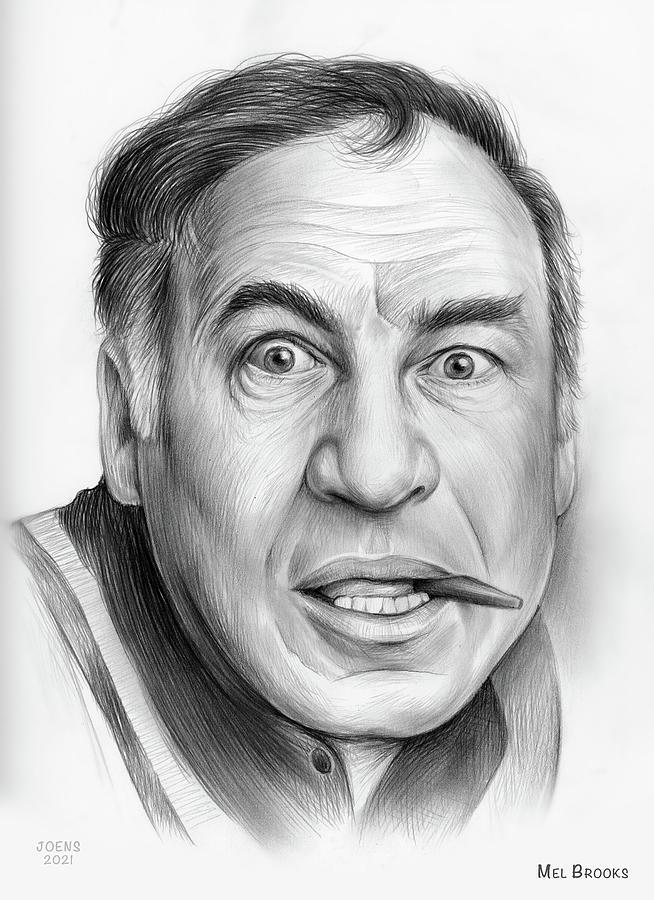 Mel Brooks Drawing - Mel Brooks - pencil by Greg Joens