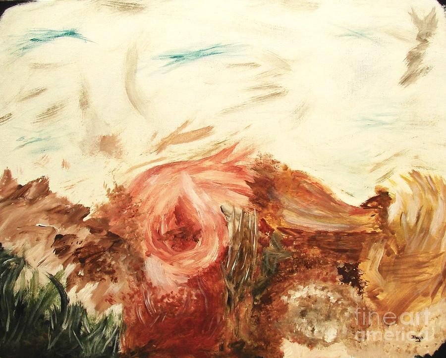 Melancholy Rose Abstract Floral Art Painting Painting