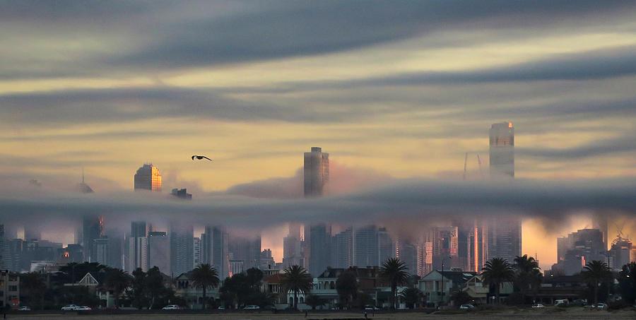 Melbourne Photograph - Melbourne misty city by Leigh Henningham
