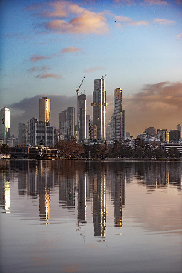 Melbourne Photograph - Melbourne Skyline reflections  by Leigh Henningham
