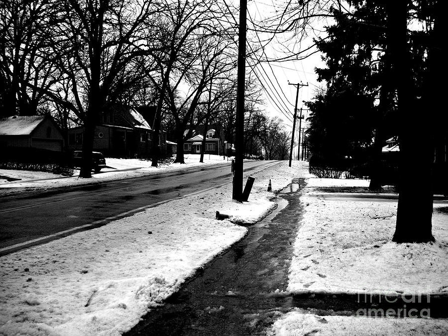 Melting Snow Down the Street - Black and White by Frank J Casella