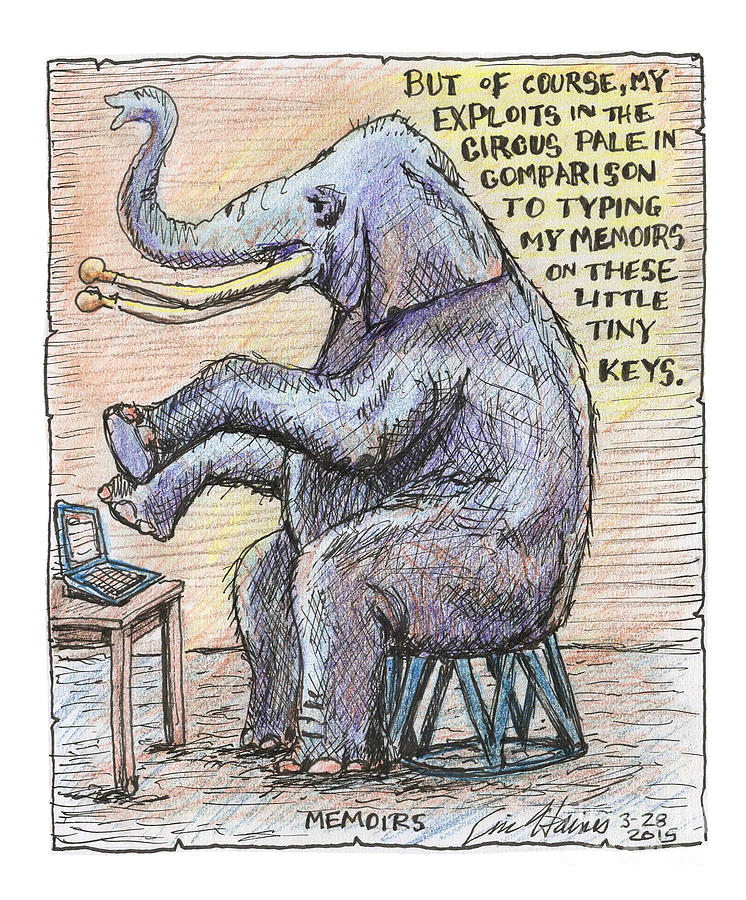 Elephant Drawing - Memoirs by Eric Haines