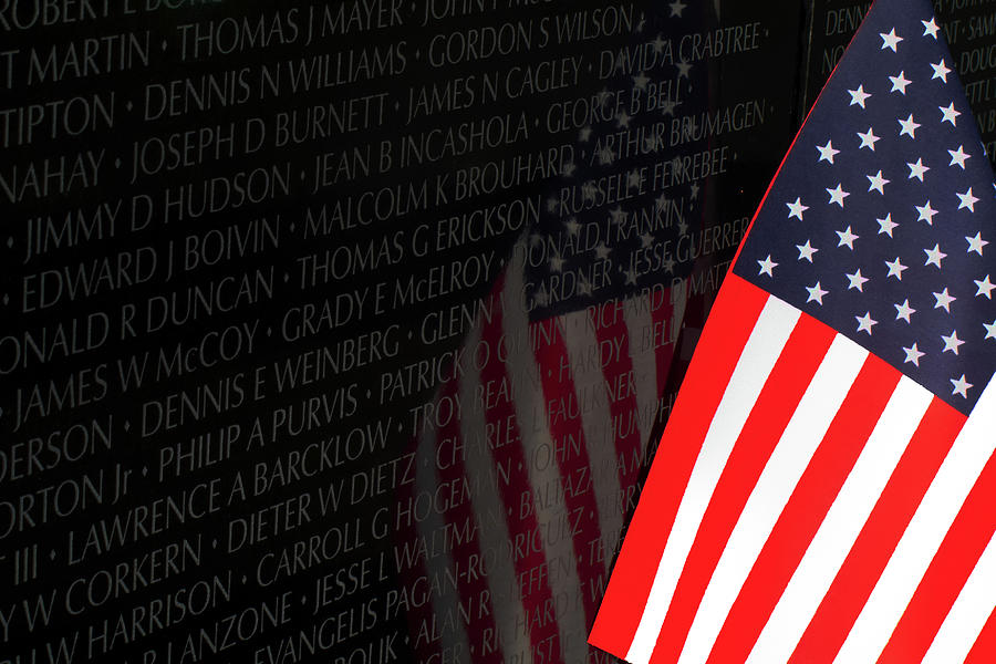 Memorial Wall And Old Glory Photograph