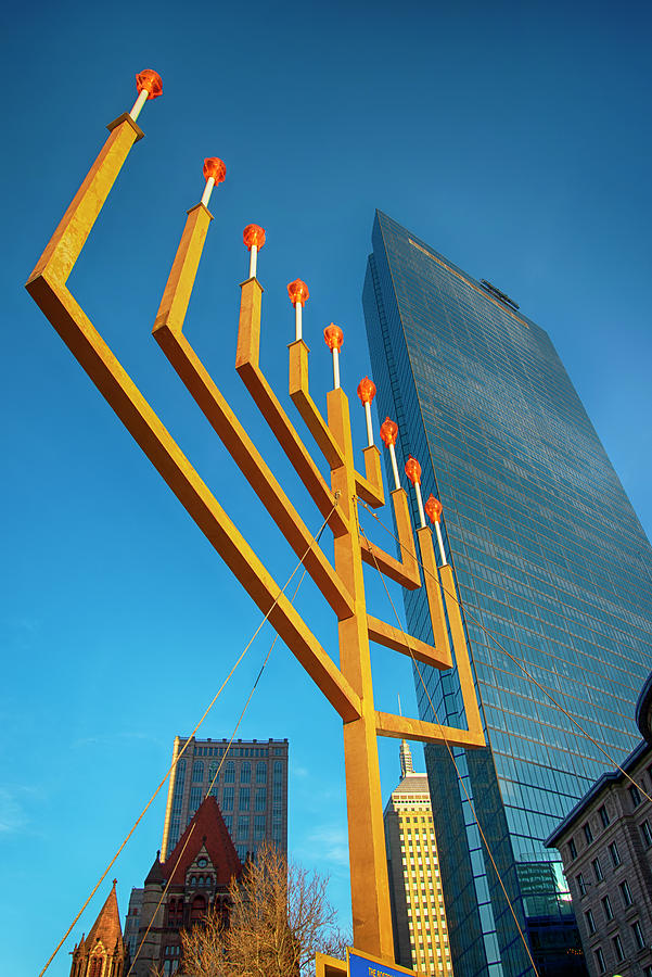 Menorah in Copley Square - Boston by Joann Vitali