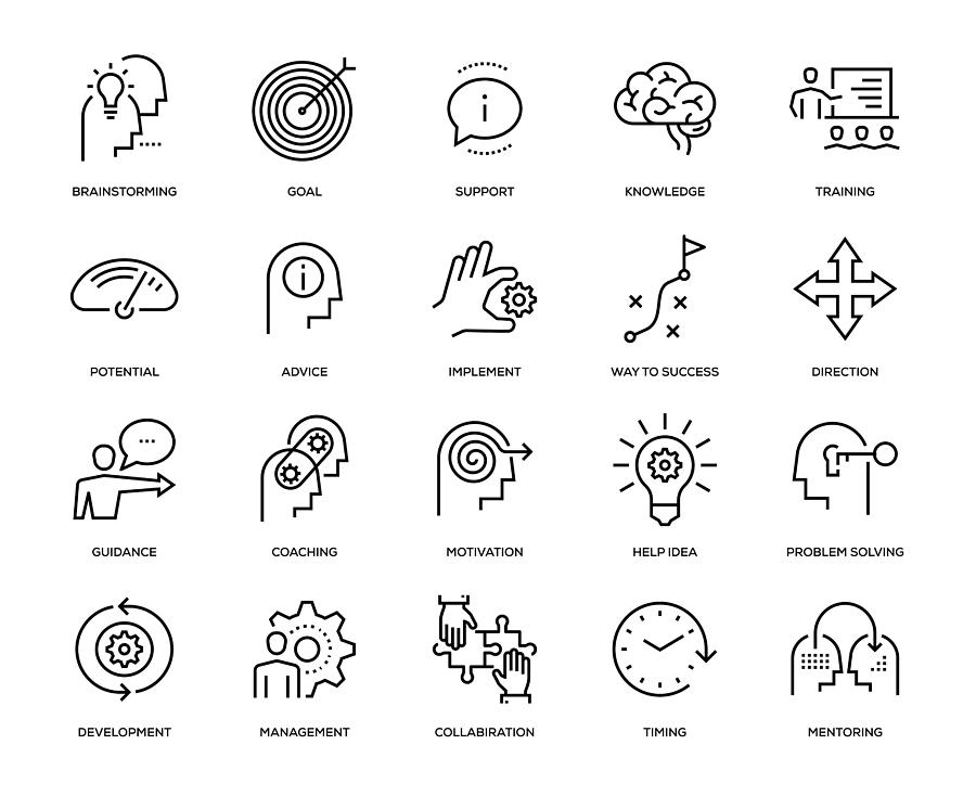 Mentoring Icon Set Drawing by Enis Aksoy