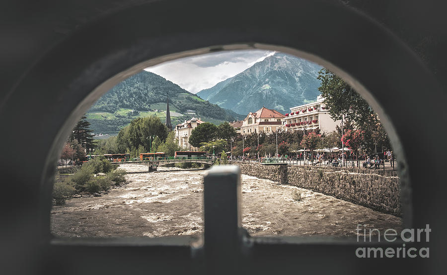 Meran  Italy view from a hole  Passirio river by Luca Lorenzelli